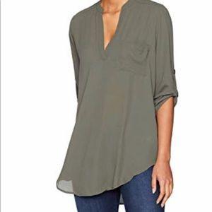 Lush Split Neck 3/4 Sleeve Henley Tunic